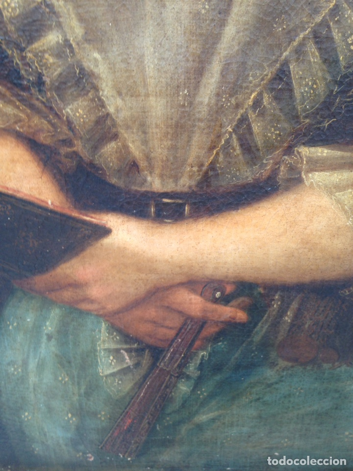 Arte: Retrato de dama oleo sobre lienzo siglo XVIII - Foto 5 - 127923995