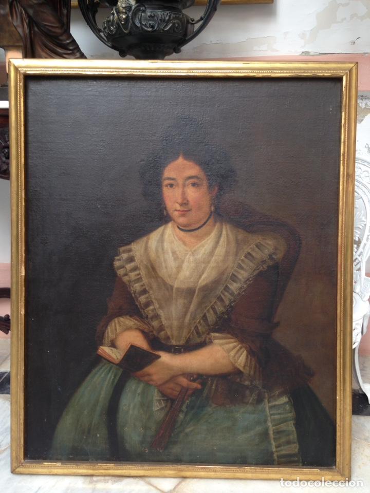Arte: Retrato de dama oleo sobre lienzo siglo XVIII - Foto 2 - 127923995