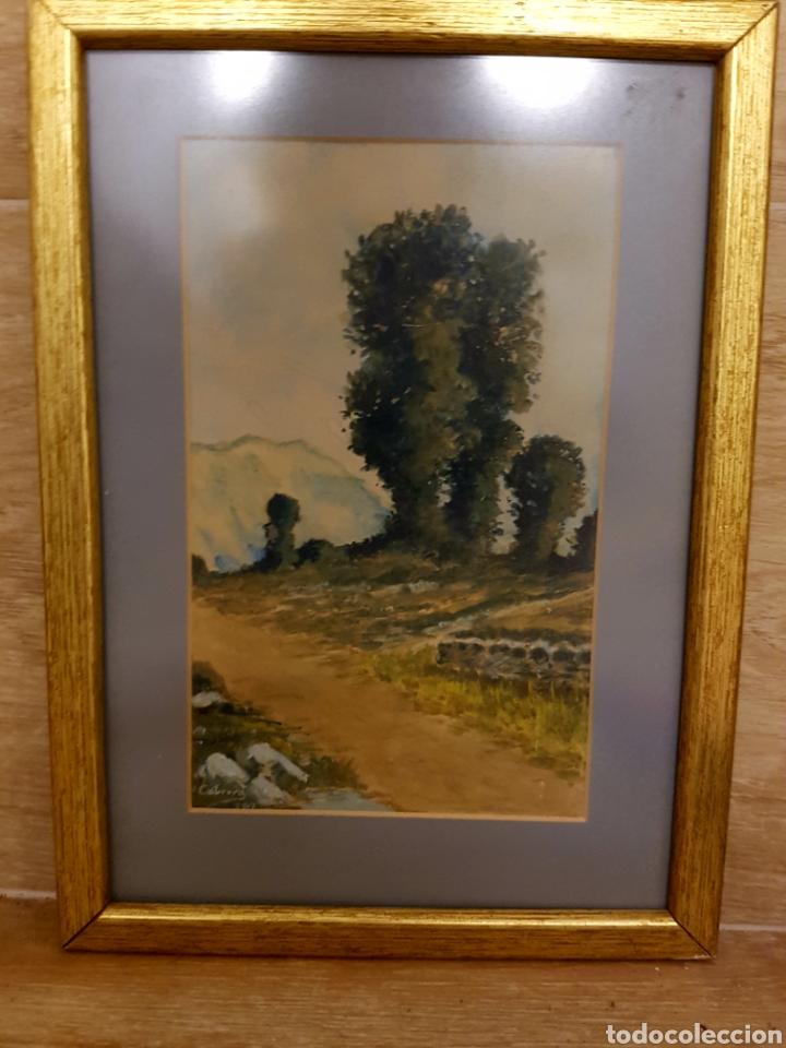 ACUARELA, PAISAJE CON MARCO DORADO, FIRMADA Y FECHADA. CABRERA 1917 (Arte - Pintura - Pintura al Óleo Moderna sin fecha definida)
