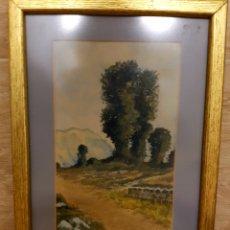 Arte: ACUARELA, PAISAJE CON MARCO DORADO, FIRMADA Y FECHADA. CABRERA 1917. Lote 127938795