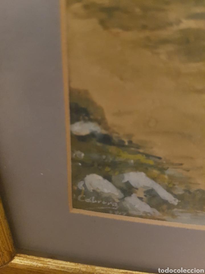 Arte: ACUARELA, PAISAJE CON MARCO DORADO, FIRMADA Y FECHADA. CABRERA 1917 - Foto 3 - 127938795