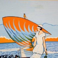 Arte: VICTORIA GUERIN. OLEO SOBRE CARTULINA. DAMA CON MAR DE FONDO. Lote 127943567