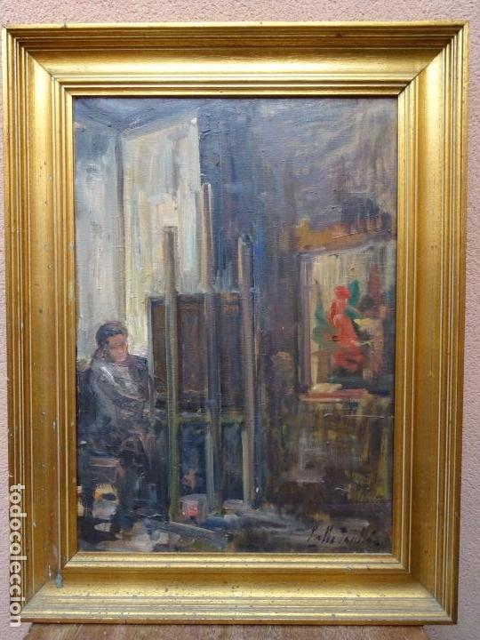 Arte: Óleo sobre tela de Valls trullas.interior.Buen trazo.escuela catalana. - Foto 2 - 127975723