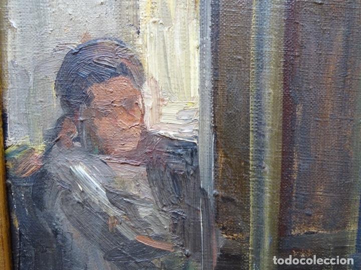 Arte: Óleo sobre tela de Valls trullas.interior.Buen trazo.escuela catalana. - Foto 3 - 127975723