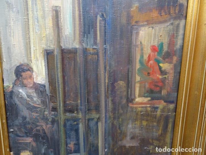 Arte: Óleo sobre tela de Valls trullas.interior.Buen trazo.escuela catalana. - Foto 5 - 127975723
