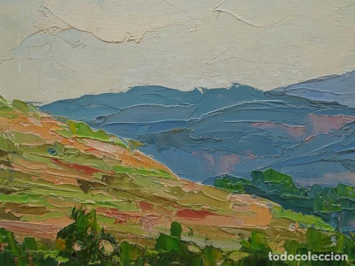 Arte: Gran óleo de Lluís clapes.Paisaje de Montserrat.buen trazo. - Foto 2 - 127976243
