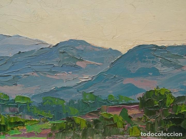 Arte: Gran óleo de Lluís clapes.Paisaje de Montserrat.buen trazo. - Foto 3 - 127976243