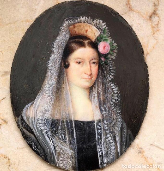 MINIATURA ANTONIO MARIA ESQUIVEL. LA CONDESA DE TORREJÓN. FIRMADA. 1835. (Arte - Pintura - Pintura al Óleo Moderna siglo XIX)