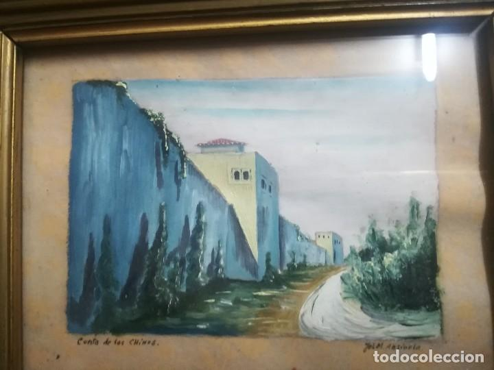 ANTIGUO ÓLEO SOBRE PAPEL DE CUESTA DE LOS CHINOS (GRANADA) FIRMADA JOS. M. ANTINOLO MIREN FOTOS (Arte - Pintura - Pintura al Óleo Contemporánea )