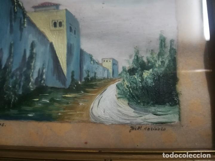 Arte: Antiguo Óleo sobre papel de cuesta de los chinos (Granada) firmada Jos. M. Antinolo miren fotos - Foto 3 - 128117447