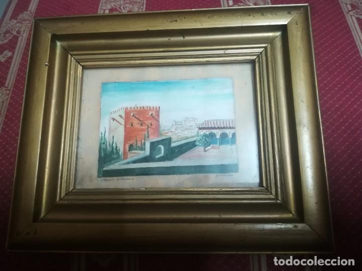 ANTIGUO ÓLEO SOBRE PAPEL DE JARDINES DE MACHUCA (GRANADA) FIRMADA JOS. M. ANTINOLO MIREN FOTOS (Arte - Pintura - Pintura al Óleo Contemporánea )