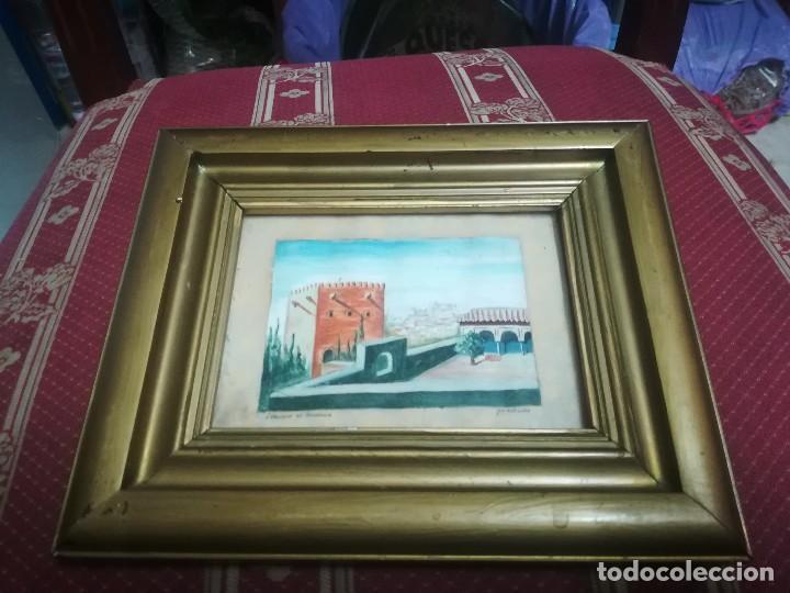 Arte: Antiguo Óleo sobre papel de jardines de machuca (Granada) firmada Jos. M. Antinolo miren fotos - Foto 2 - 128117563