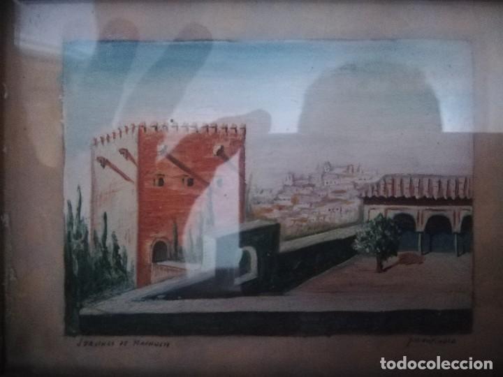 Arte: Antiguo Óleo sobre papel de jardines de machuca (Granada) firmada Jos. M. Antinolo miren fotos - Foto 6 - 128117563