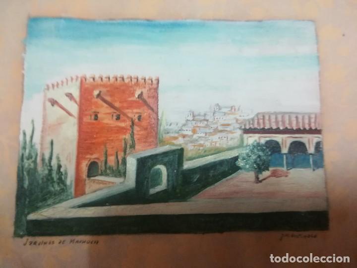 Arte: Antiguo Óleo sobre papel de jardines de machuca (Granada) firmada Jos. M. Antinolo miren fotos - Foto 7 - 128117563