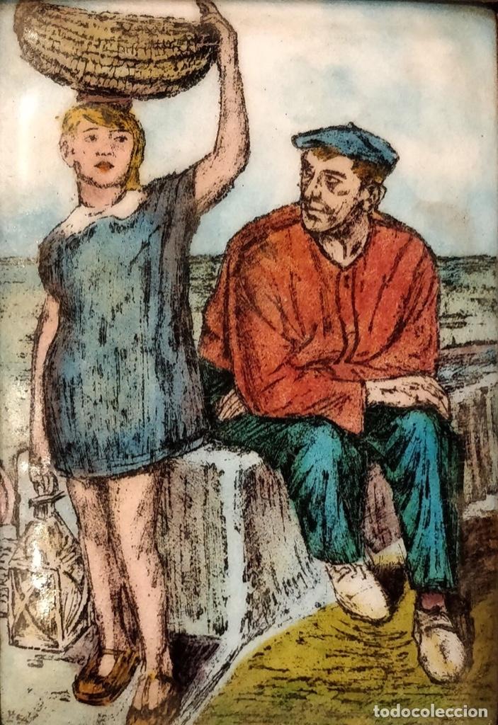 Arte: Alberto Arrue, pescador con niña. esmalte , precioso. - Foto 2 - 128125751
