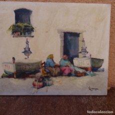 Arte: ÓLEO SOBRE TABLA.POVEDA.REMENDANDO REDES.ART PETRITXOL 1988.. Lote 128140935