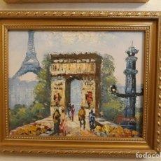 Arte: OLEO IMPRESIONISTA TORRE DE PARIS Y OTROS MONUMENTOS EN LIENZO CON MARCO DORADO, CON FIRMA. Lote 116897091