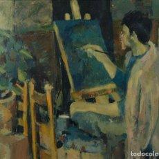 Arte: ISABEL SERRAHIMA (1934-1999) ÓLEO SOBRE LIENZO ARTISTA PINTANDO UN LIENZO FIRMADO 1960. Lote 128169667
