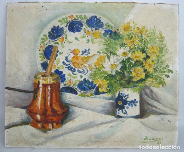 ANTIGUA PINTURA FIRMADA - OLEO BODEGON VALENCIANO - PLATO RIBESALBES CHOCOLATERA Y MARGARITAS (Arte - Pintura - Pintura al Óleo Moderna sin fecha definida)
