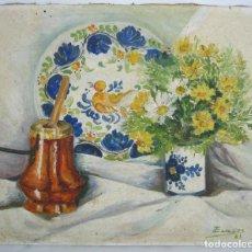 Arte: BELLA PINTURA OLEO FIRMADO - BODEGON VALENCIANO PLATO MANISES CHOCOLATERA Y MARGARITAS. Lote 128319379
