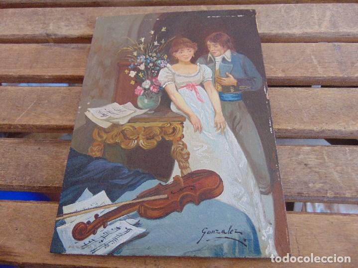 BONITA TABLA PINTADA AL OLEO FIRMADA GONZALEZ MIDE 22.5 X 16 CM (Arte - Pintura - Pintura al Óleo Contemporánea )