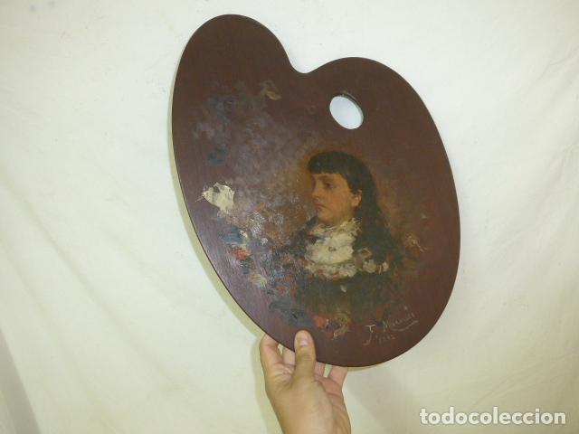 FRANCISCO MIRALLES. PALETA AL OLEO ORIGINAL FIRMADO Y FECHADO EN 1882. (Arte - Pintura - Pintura al Óleo Moderna siglo XIX)