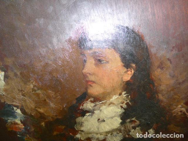 Arte: Francisco Miralles. Paleta al oleo original firmado y fechado en 1882. - Foto 3 - 128387311