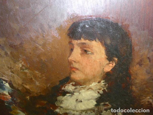 Arte: Francisco Miralles. Paleta al oleo original firmado y fechado en 1882. - Foto 4 - 128387311