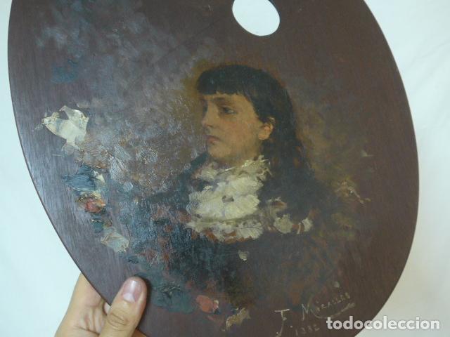 Arte: Francisco Miralles. Paleta al oleo original firmado y fechado en 1882. - Foto 10 - 128387311