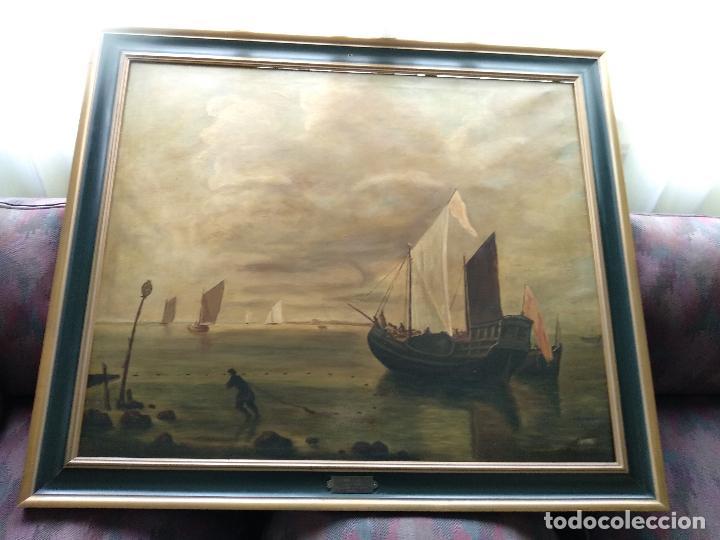 BELLÍSIMA COPIA DE MUSEO DEL CUADRO TITULADO CALMA CHICHA DE HENDRICK JACOBSZ DUBBELS - CIRCA 1900 (Arte - Pintura - Pintura al Óleo Moderna siglo XIX)