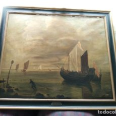 Arte: BELLÍSIMA COPIA DE MUSEO DEL CUADRO TITULADO CALMA CHICHA DE HENDRICK JACOBSZ DUBBELS - CIRCA 1900. Lote 128481531