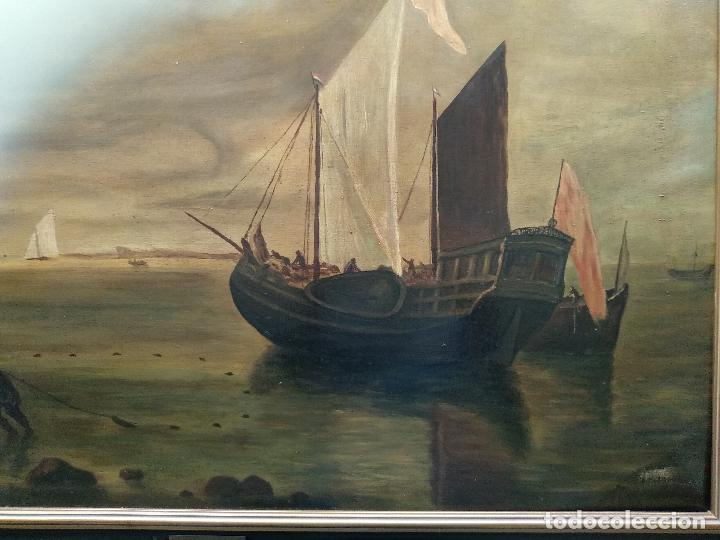 Arte: BELLÍSIMA COPIA DE MUSEO DEL CUADRO TITULADO CALMA CHICHA DE HENDRICK JACOBSZ DUBBELS - CIRCA 1900 - Foto 2 - 128481531