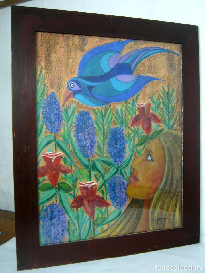 Arte: 76 cm - Interesante pintura surrealista antigua - firmada - psicodelica - Foto 8 - 128669871