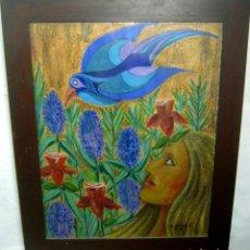 Arte: 76 CM - INTERESANTE PINTURA SURREALISTA ANTIGUA - FIRMADA - PSICODELICA. Lote 128669871