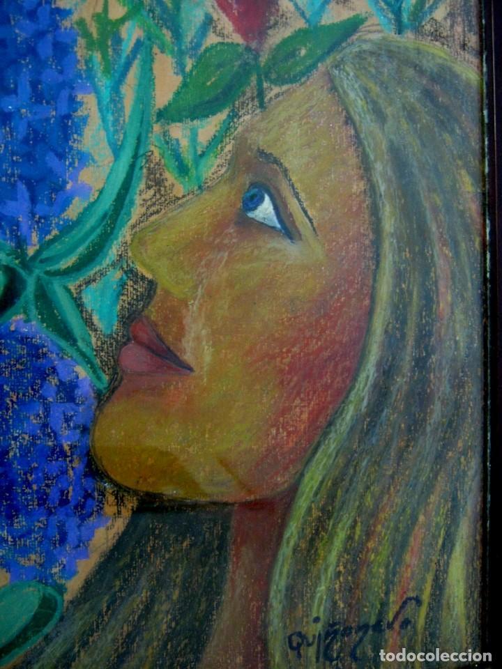 Arte: 76 cm - Interesante pintura surrealista antigua - firmada - psicodelica - Foto 4 - 128669871