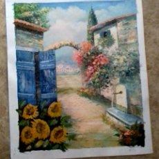 Arte: A NICE SIGNED PIECE OF ARTWORK ON CANVAS / SPANISH PUEBLO. Lote 128785218