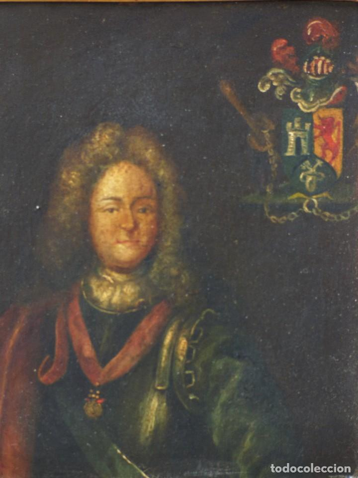 NOBLE ESPAÑOL CON ESCUDO NOBILIARIO. OLEO SOBRE COBRE S. XVII (Arte - Pintura - Pintura al Óleo Antigua siglo XVII)