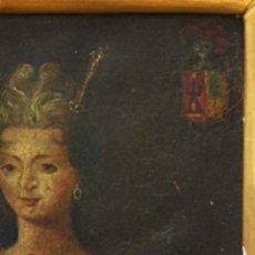 Arte: DAMA DE LA NOBLEZA CON ESCUDO NOBILIARIO. OLEO SOBRE COBRE S. XVII. Lote 128895323