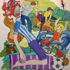 Arte: ARJÉ, ILUSTRACIÓN ORIGINAL, CATALOGADA Y SELLADA, APROX. 30X30 CMS.. Lote 128899767