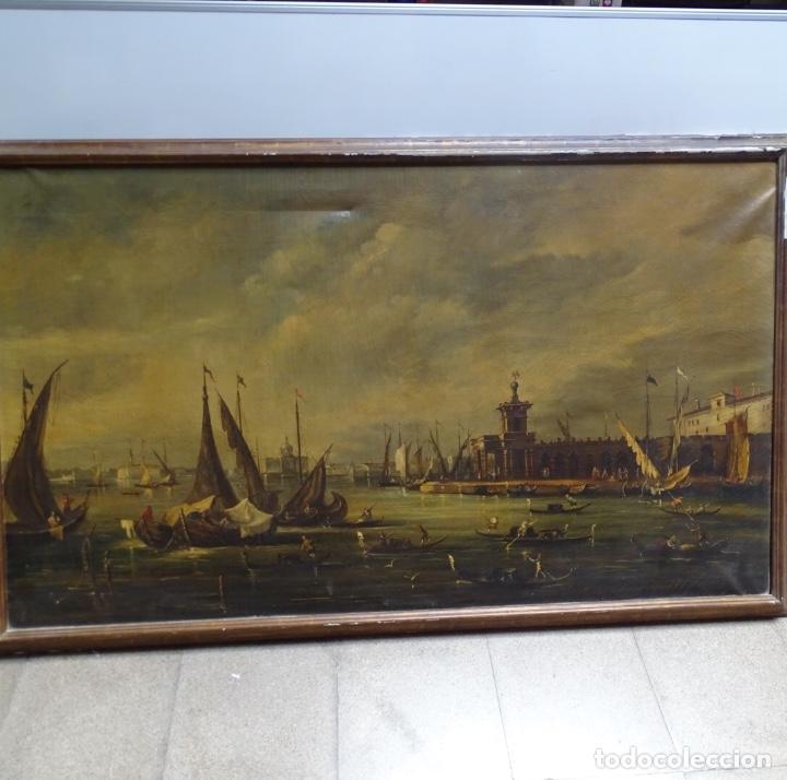 GRAN ÓLEO SOBRE TELA ANÓNIMO SOBRE S.XIX.ESCENA VENECIANA. (Arte - Pintura - Pintura al Óleo Moderna siglo XIX)