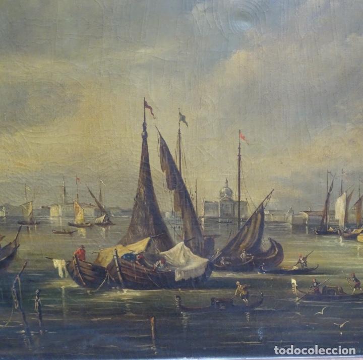 Arte: Gran óleo sobre tela anónimo sobre s.XIX.escena veneciana. - Foto 2 - 128937251