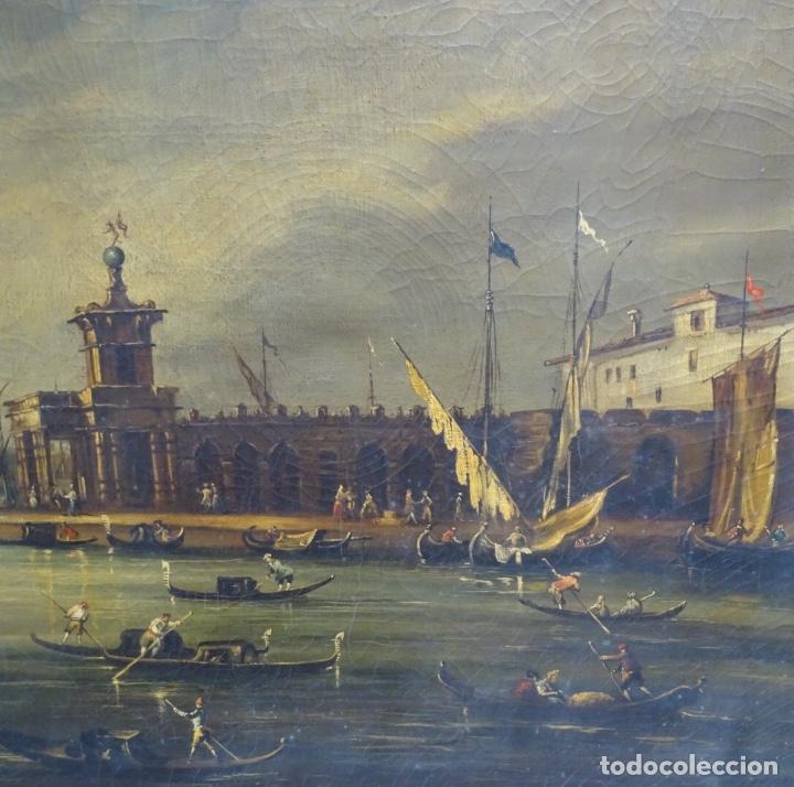 Arte: Gran óleo sobre tela anónimo sobre s.XIX.escena veneciana. - Foto 4 - 128937251