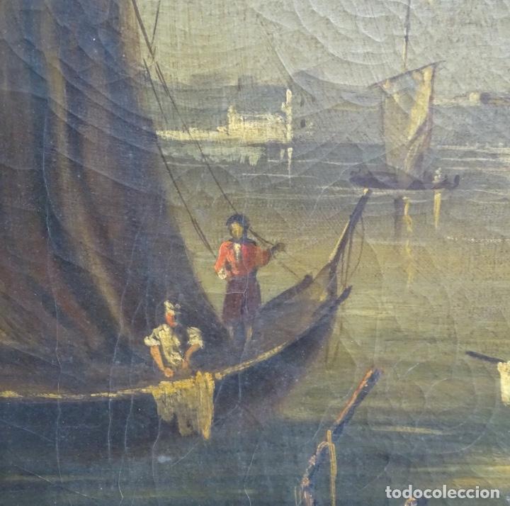 Arte: Gran óleo sobre tela anónimo sobre s.XIX.escena veneciana. - Foto 5 - 128937251