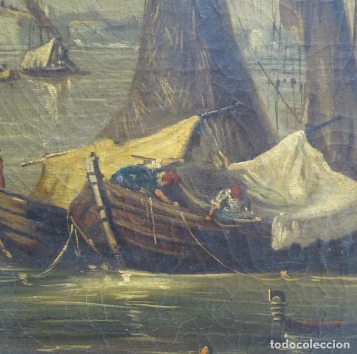 Arte: Gran óleo sobre tela anónimo sobre s.XIX.escena veneciana. - Foto 6 - 128937251
