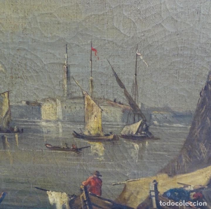 Arte: Gran óleo sobre tela anónimo sobre s.XIX.escena veneciana. - Foto 7 - 128937251