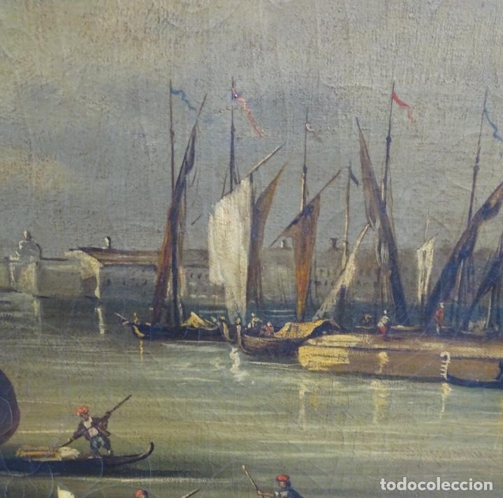 Arte: Gran óleo sobre tela anónimo sobre s.XIX.escena veneciana. - Foto 8 - 128937251