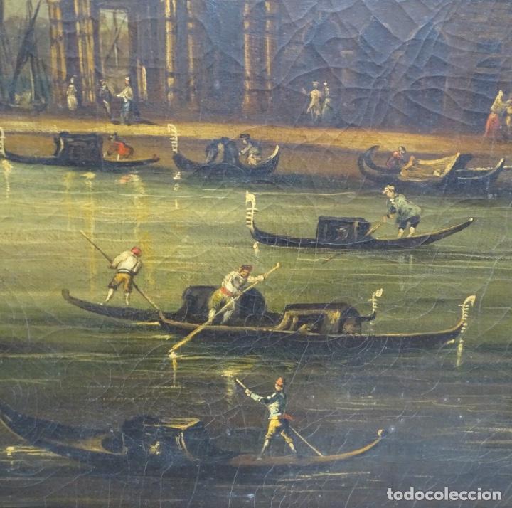Arte: Gran óleo sobre tela anónimo sobre s.XIX.escena veneciana. - Foto 9 - 128937251