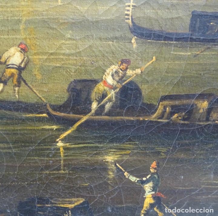 Arte: Gran óleo sobre tela anónimo sobre s.XIX.escena veneciana. - Foto 10 - 128937251
