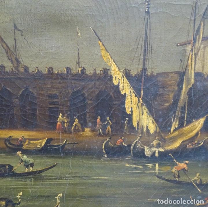 Arte: Gran óleo sobre tela anónimo sobre s.XIX.escena veneciana. - Foto 11 - 128937251