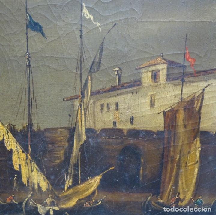 Arte: Gran óleo sobre tela anónimo sobre s.XIX.escena veneciana. - Foto 12 - 128937251